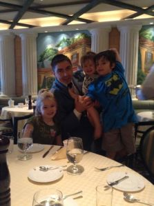Gabriel and the children at Sabatini's at breakfast