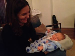 This is James at four days old with one of my very favourite people on the planet.  I'll not publish her name though, as she's far more online shy than I am.  Love her to bits though, and glad she got to meet him when he was still nice and fresh!