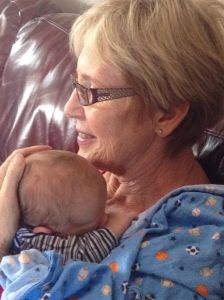 Nana Margie holding James for the first time.