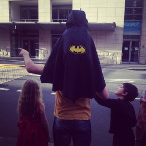 And here is Adam perched atop his father's shoulders.  It is about his favourite place on earth.  The cape started off as Daniel's, but nobody contests the fact it is very much Adam's now.  He wears it to the zoo, the mall, daycare, you name it. And when it is on, he's quite convinced he is invincible.