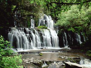 Nature Waterfalls Parakaunui Falls New Zealand 2181