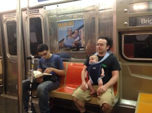 Riding the subway… the kid next to Steve was very bookish and his mom was so nice, he kinda reminding us of our eldest Daniel