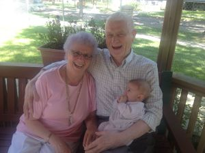 My great great Aunt Esther (My grandmother's twin sister) and her gorgeous boyfriend holding James.  They are soooo loved up and there is something so beautiful about old people and young people together.  They have an affinity that is magic!