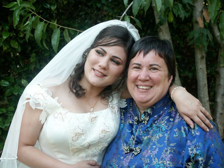 Me and my mom at our first wedding which we had at their house up in Dargaville, and on Bayley's Beach.