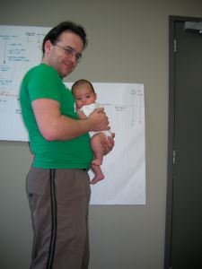 Daniel with Daddy at work