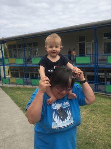 Granny's shoulders at the big kids' parent teacher interviews