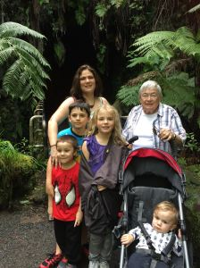 Mother in Law and all the kids and I at the Lava Tube at Volcano national park on the big island (Hawaii)
