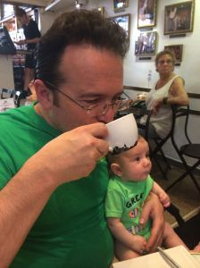 Super Dad sipping coffee in Spain